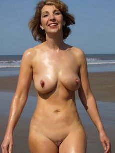 Shaved nudist milf.